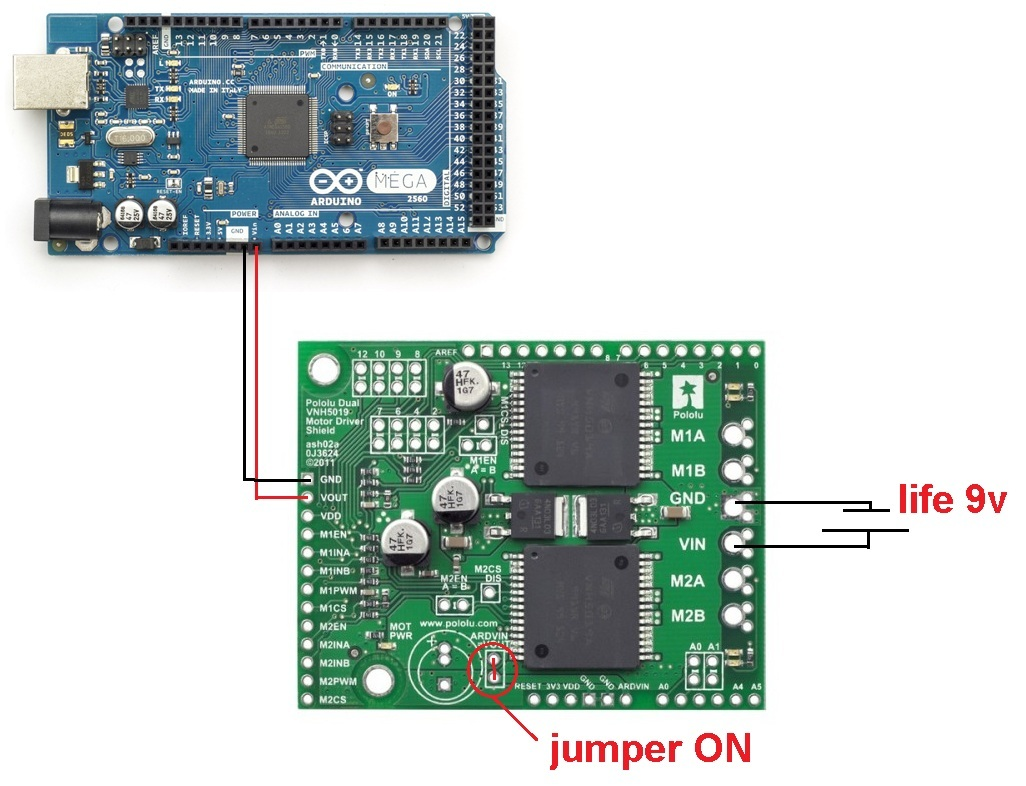 Can't feed Arduino with VNH5019 - Motor controllers/drivers