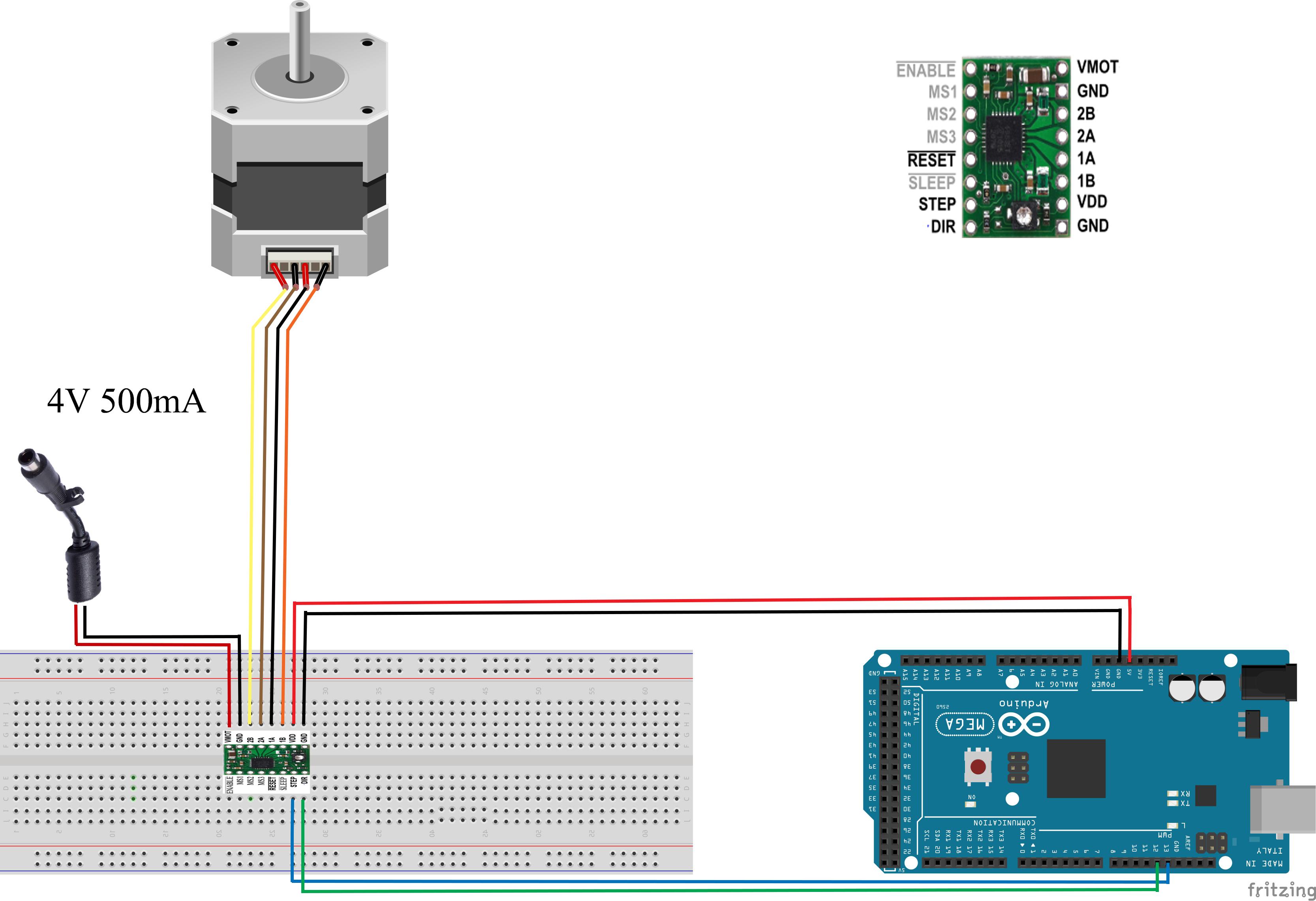 Pololu A4988 And Nema17 Stepper Motor