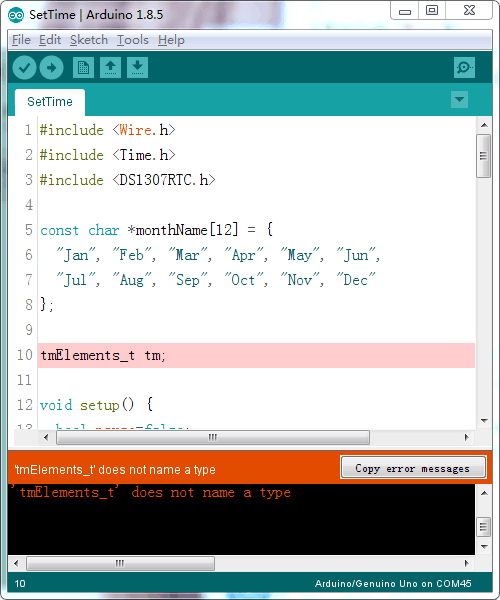 Is there anything wrong for Arduino IDE 1307 code example